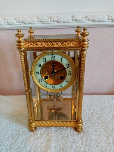 Gilt Four-Glass-Sided Clock. Fabrique of Paris (1 of 6)