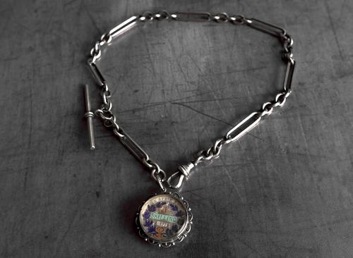Antique Silver Albert Watch Chain and Enameled 1897 South African Shilling Fob in Silver Mount, 15 Inch (1 of 12)