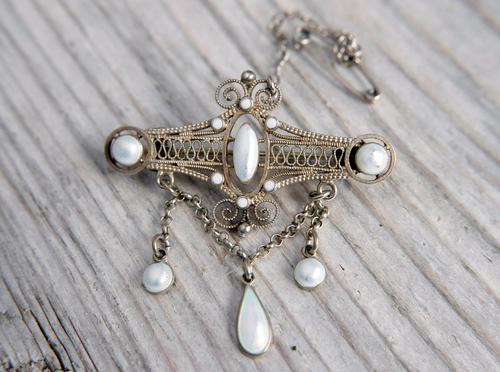 Antique Norwegian Solje Brooch, Silver Gilt & White Enamel (1 of 9)
