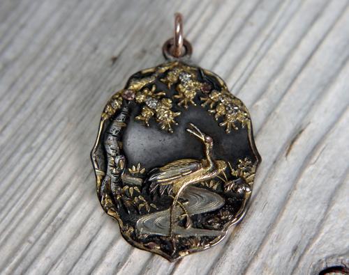 Antique Japanese Shakudo Pendant, Stork & Stream Under Tree, Meiji Period (1 of 8)