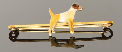Good Quality Enamelled Terrier Dog Bar Brooch (1 of 5)