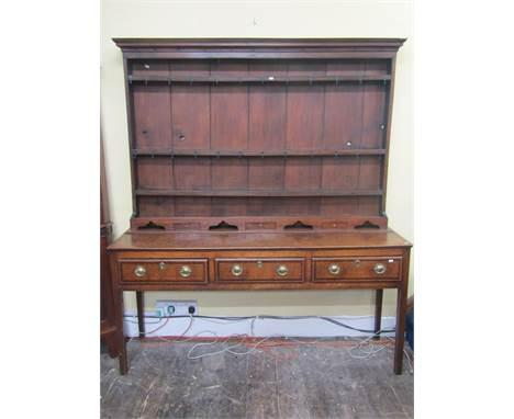 18th Century Oak Inlaid Dresser with Plate Rack (1 of 1)