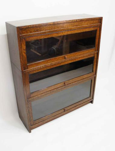 1920s 3 Tier Oak Sectional Glazed Bookcase (1 of 15)