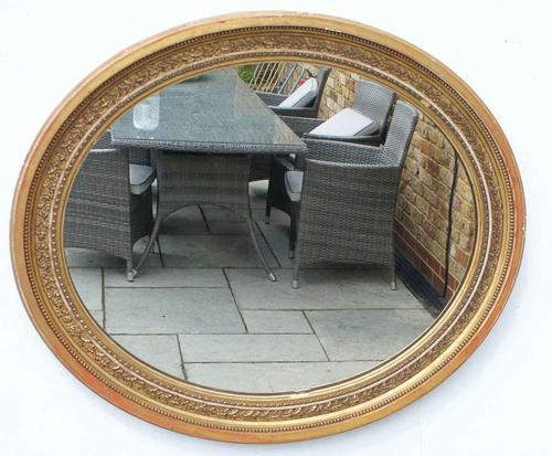 Edwardian Oval Giltwood and Gesso  Overmantle Mirror 67Cm X 58 Cm (1 of 10)