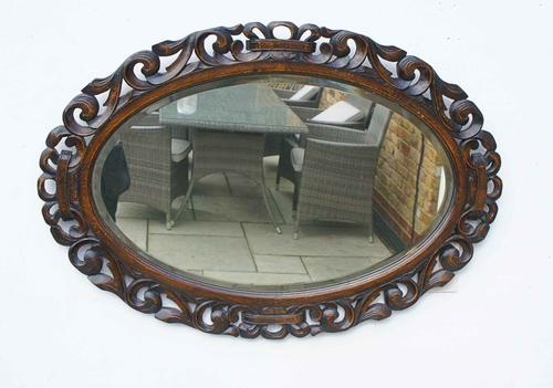 Early 20th Carolean Style Carved Oak  Overmantle  Mirror (1 of 12)