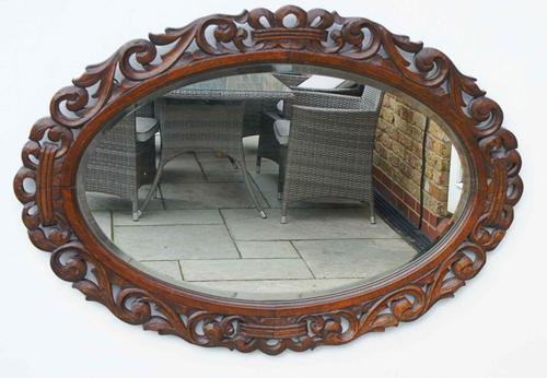 Early 20th Carolean Style Carved Oak  Overmantle  Mirror - Chestnut (1 of 10)