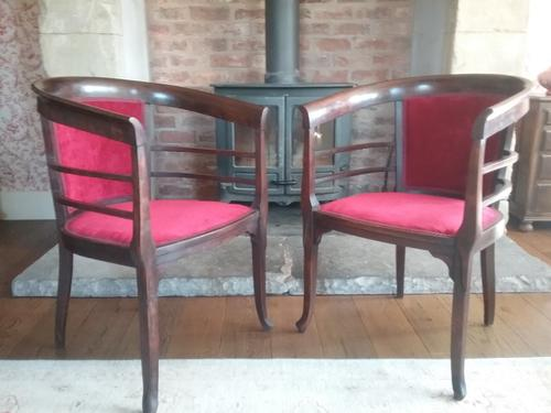 Pair of Edwardian Tub Chairs (1 of 4)