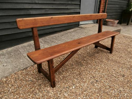 Late 19th Century Pine Bar Back Bench (1 of 12)