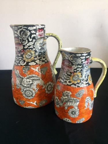 Graduated Pair of Masons Jugs in the Rare Bandana Pattern, Chinoiserie, 1840 (1 of 14)
