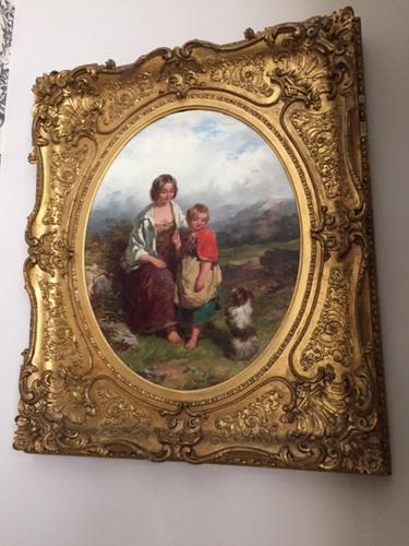 19th Century Oil on Canvas, Landscape with Girl, a Child & Dog, Signed James Curnock 1858 (1 of 11)