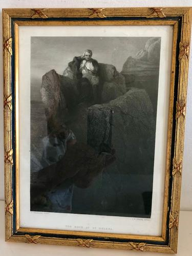 """Napoleon Engraving """"the Rock At St Helena"""" Framed circa 1860 After Delaroche (1 of 6)"""
