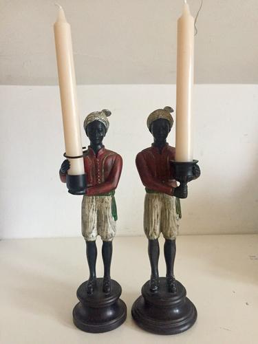 Pair of Art Deco Style Blackamoor Nubian Figurine Candlesticks (1 of 8)