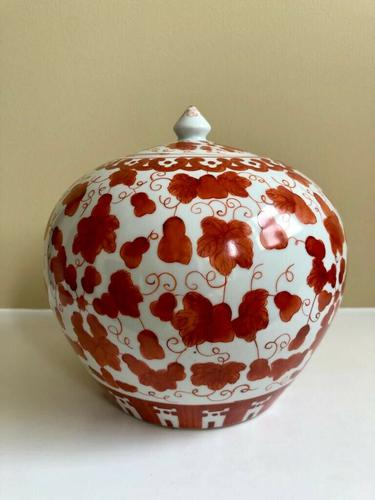 Fine 19th Century Porcelain Chinese Ginger Jar Iron Red Pattern of Tongzhi Period (1 of 5)
