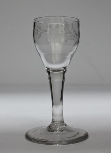 Georgian, English, Engraved Plain Stem Small Wine or Cordial Glass (1 of 6)