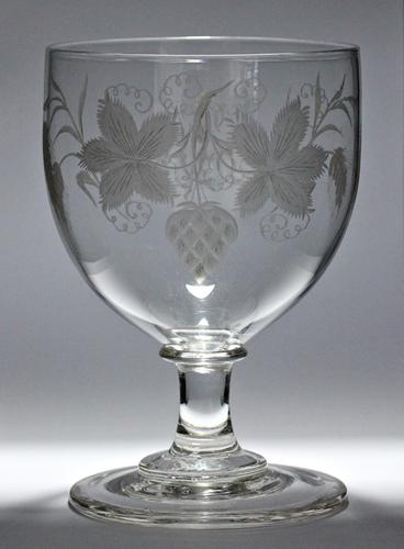 Large, Late Georgian, Ovoid-Bowled, Hop & Barley Engraved Ale Glass or Goblet (1 of 8)
