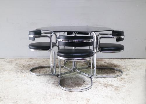 1970s Italian Modern Glass Dining Table with Chrome & Leatherette Chairs (1 of 6)