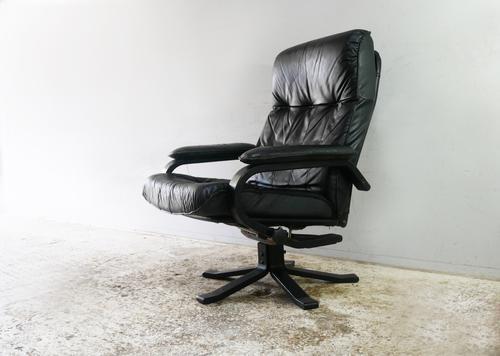1970s Danish Mid Century Leather Reclining Swivel Chair (1 of 6)