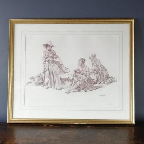 Sir William Russell Flint Signed Artists Proof - Group of Idlers 1966 (1 of 11)