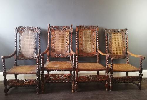 Jacobean Renaissance Revival Carved Walnut & Cane Throne Chairs c.1870 (1 of 39)