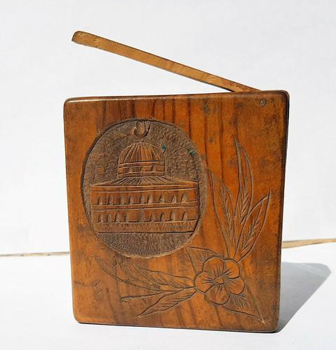 Rare Beautiful Wood Carved Jerusalem Dome Temple Card or Vesta Case c.1950 (1 of 11)