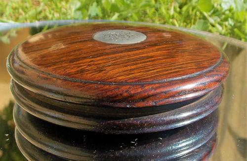 Rare 18th Century Georgian Oak Wood & Solid Silver Cartouche Circular Snuff Box c.1780 (1 of 8)