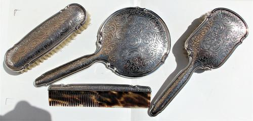 Beautiful Victorian Solid Silver Hermann Bauer German Floral Brush & Mirror Set Germany c.1900 (1 of 12)