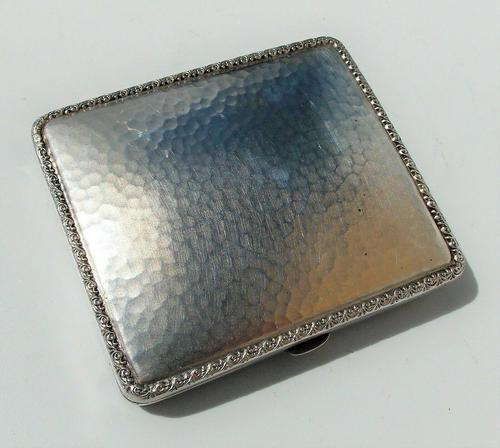 Rare Stunning Austrian  Solid Silver Planished Finish Cigarette / Card Case c.1900 (1 of 12)