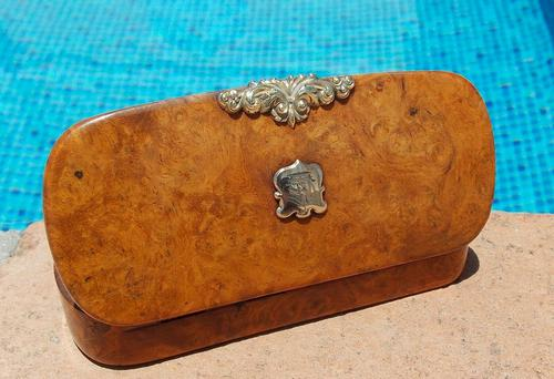 Rare French Georgian 9ct Gold Shield Crown Crest Burr Wood Rectangle Snuff Box c.1800 (1 of 10)