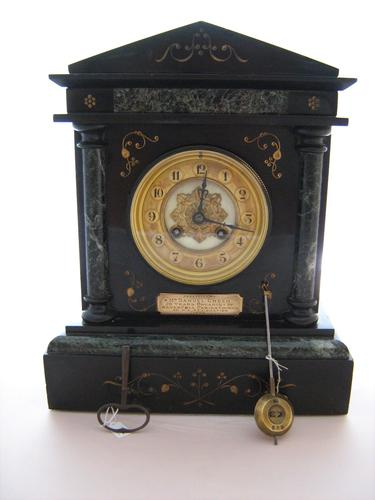 Imposing C1900 French Striking Black Slate Mantle Clock by Samuel Marti. (1 of 7)