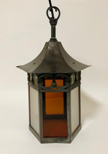 Antique Hexagonal Glass Hall Lantern (1 of 7)