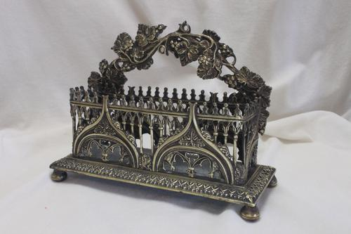 Cast Brass Gothic Letter Rack (1 of 5)