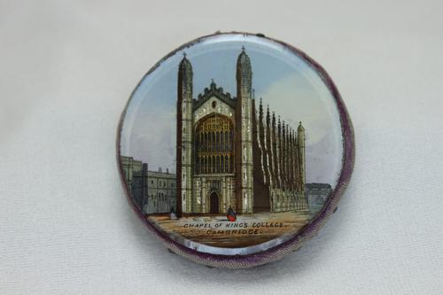 Souvenir Reverse Painted Pin Cushion Kings College Cambridge (1 of 3)