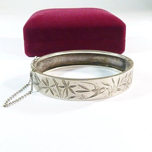Antique Sterling Silver Swallow Bangle (1 of 5)