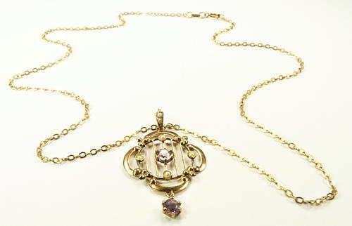Antique Hallmarked Gold Pendant & Necklace (1 of 8)