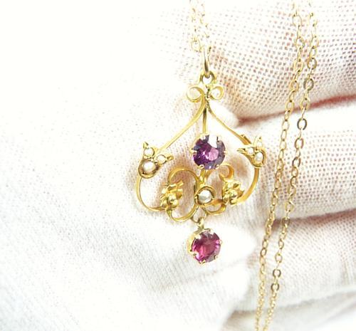 Antique Hallmarked Gold Pearl & Garnet Pendant Necklace (1 of 8)