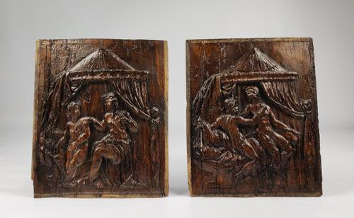 Pair of 16th Century Erotic Carved Oak Panels (1 of 4)