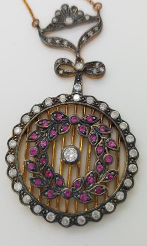 Silver Gilt Ruby & Diamond Edwardian Pendant (1 of 4)