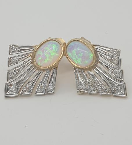 9ct Opal & Diamond Earrings (1 of 5)