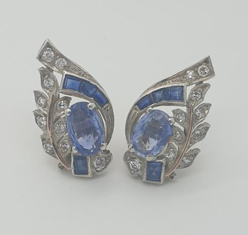 Sapphire & Diamond White Gold Cocktail Earrings (1 of 5)