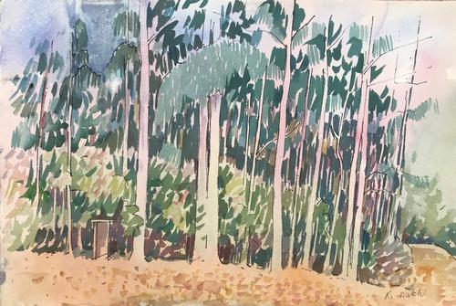 Original Large Watercolour of Trees in Australia by Ken Walch 1927-2017. Signed c.1975 (1 of 1)