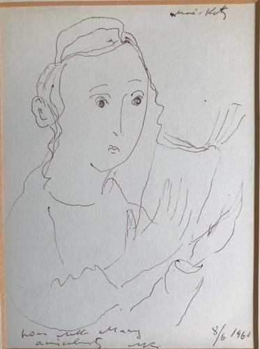 Original Pen & Ink Drawing 'Mary Reading' by Emmanuel Mane-Katz Signed, Dated & Inscribed' (1 of 5)