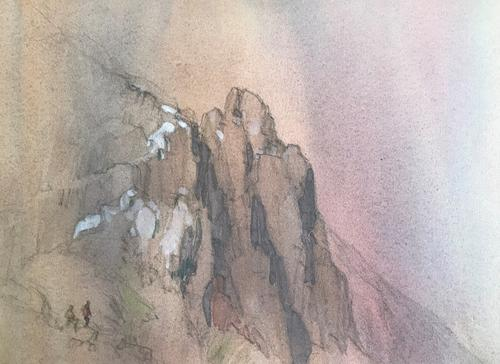 Original Watercolour 'Mountaineers Approaching an Ice Wall in the Lake District' by Tom Oldham (1 of 2)