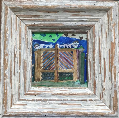 Original Watercolour '2 Boys by Their Gate' by Doreen Heaton Potworowski 1930-2014 c.1970 Initialled on the Reverse (1 of 2)
