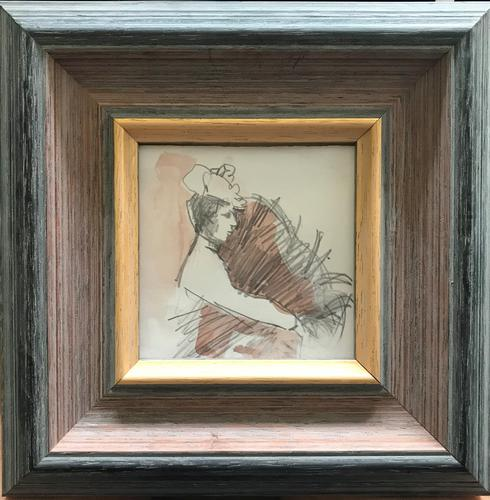 Original Watercolour and Pencil Drawing 'an Elegant Lady' by Bernard Batchelor (1 of 2)