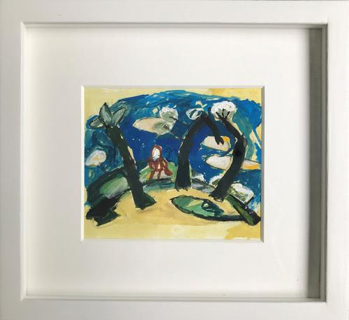 Original Gouache Painting 'Figure Among Trees' by Doreen Heaton Potworowski Initialled & Framed c.1970 (1 of 2)