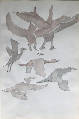 Original Watercolour by Toby Horne Shepherd 1909-1994. 'Birds in Flight'. Signed c.1965 (1 of 1)