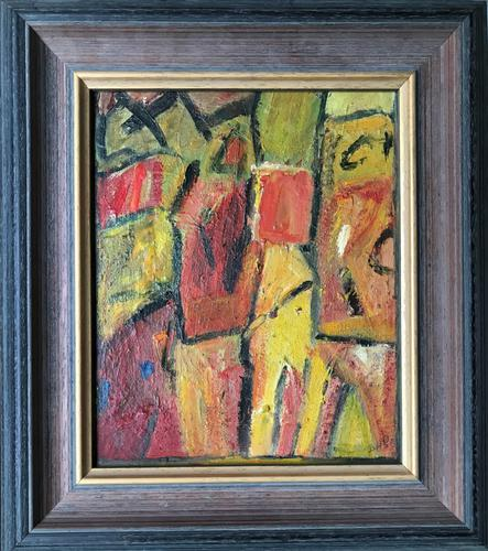 Original Oil Painting on Board 'Two Figures'' by Doreen Heaton Potworowski 1930-2014. Initialled & Framed c.1970 (1 of 2)