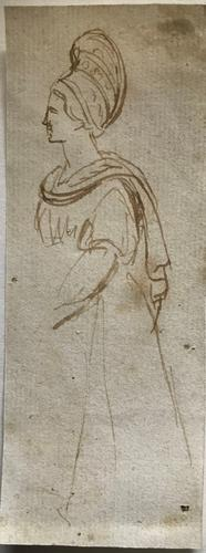 Original Old Master Sepia Pen & Ink of a Heroic Greek Female. the drawing is unsigned, but dates early 1700s (1 of 1)
