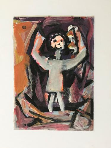 Original Oil on Paper 'All the World's a Stage' by Doreen Heaton Potworowski 1930-2014. Initialled & Framed c.1970 (1 of 2)