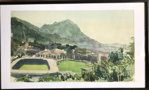 Original Watercolour 'Hong Kong Football Club, Gwulo, Old Hong Kong' by Elizabeth Sinclair. 1955 / 1956. Signed & Framed (1 of 3)